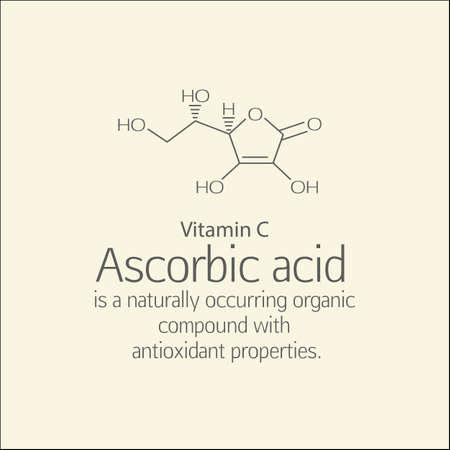 ascorbic: F�rmula y una breve descripci�n de �cido asc�rbico (vitamina C). El �cido asc�rbico es un compuesto org�nico de origen natural con propiedades antioxidantes. Esquema y texto. Fundamentos de la nutrici�n saludable.