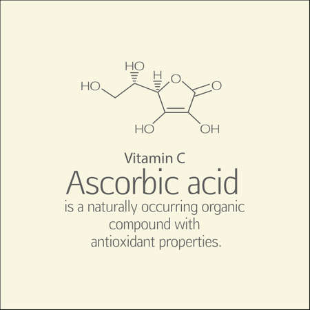 ascorbic: Formula and a brief description of ascorbic acid (vitamin C). Ascorbic acid is a naturally occurring organic compound with antioxidant properties. Scheme and text. Basics of healthy nutrition.