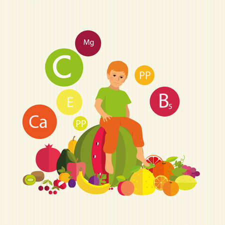 ascorbic: Boy on a watermelon. Stylized composition with fruit and vitamins. Child Health.
