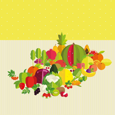 Composition of fresh vegetables, fruits and berries on a yellow background. Basics of healthy nutrition. Stock fotó - 41548419