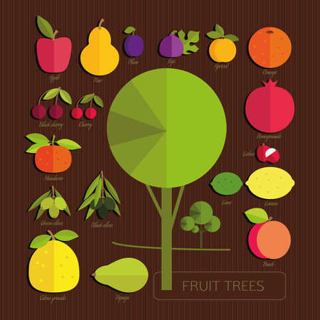 labranza: Los frutos de los árboles frutales. Frutas de colores y árbol sobre fondo de rayas de color marrón oscuro. Set. Jardinería.