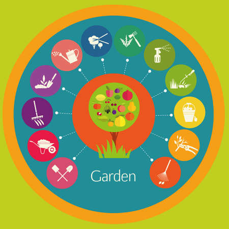 Organic gardening. Stages care cultivated plants: planting, digging up the ground, irrigation, fertilizer, spraying, weed control, harvesting in the garden. Illustration