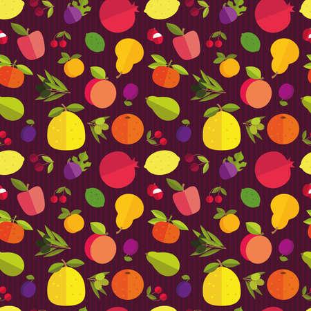 labranza: Modelo incons�til de los frutos placer de �rboles frutales. Los c�tricos, frutas de hueso, frutas de pepita y frutas ex�ticas en un fondo p�rpura oscuro.