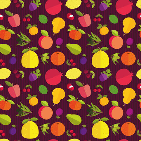 citrus maxima: Seamless pattern of placer fruits of fruit trees. Citrus fruits, stone fruits, pome fruits and exotic fruits on a dark purple background.