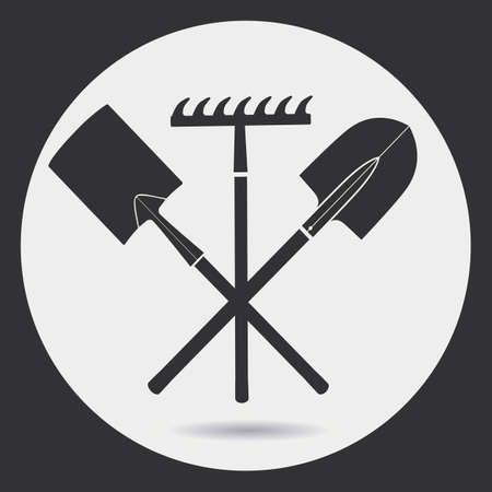raking: Gardening. Landing is time - a shovel and a rake. A black silhouette on a light background in a round frame.
