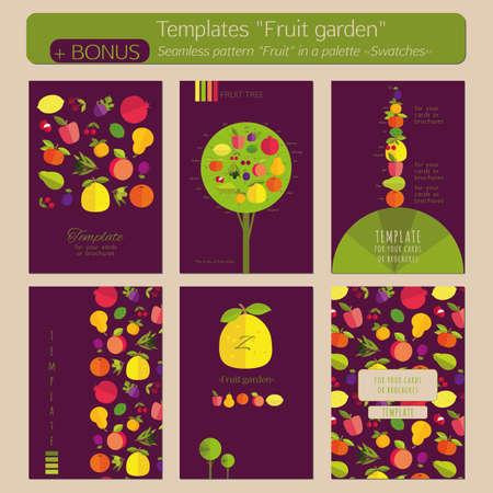 """labranza: Un conjunto de plantillas para tarjetas postales, portadas, folletos, folletos """"Jardín de la fruta"""". Fondo de la lila, cuadros vivos. Bonus - sin patrón """"fruta"""" en una paleta """"Muestras""""."""