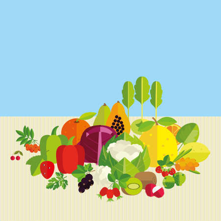 basics: Composition of fresh vegetables, fruits and berries with the highest vitamin C content. Basics of healthy nutrition.