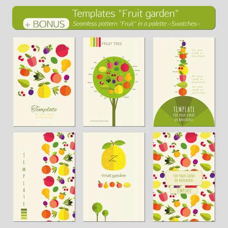 """tillage: Un conjunto de plantillas para tarjetas postales, portadas, folletos, folletos """"Jardín de la fruta"""". Imágenes brillantes del color en un fondo ligero de la textura. Bonus - sin patrón """"fruta"""" en una paleta """"Muestras"""". Vectores"""