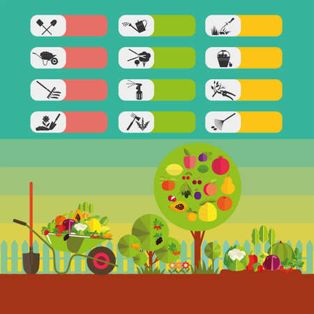 kitchen garden: Gardening. Organic cultivation of fruit and vegetables. Fruit trees, garden bed, harvest. The icons on the theme of planting, digging up the ground, irrigation, fertilizer, spraying, weed control, harvesting in the garden.