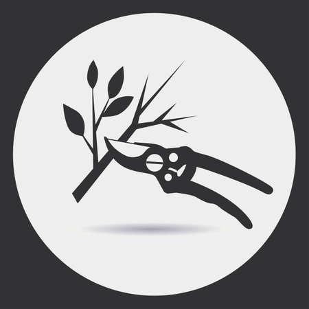 ガーデニング。刈り込み剪定は、枝を乾燥させます。ラウンド フレームの明るい背景に黒いシルエット。  イラスト・ベクター素材