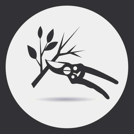pruning: Gardening. Pruning secateurs dry branches. A black silhouette on a light background in a round frame.