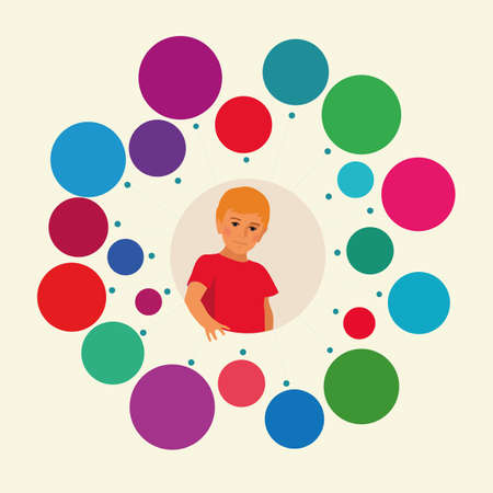 childrens: Template for children infographic on the theme. The composition of the boy at the center. Multi-colored circles around. Illustration