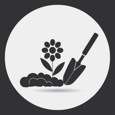 ガーデニング。苗を地面に植えること。ラウンド フレームの明るい背景に黒いシルエット。