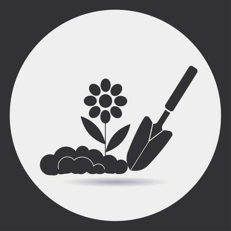Gardening. Planting seedlings in the ground. A black silhouette on a light background in a round frame.