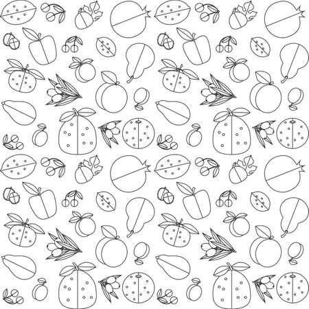 apricot tree: Contour black and white seamless pattern of fruit. White background, black contour. Illustration