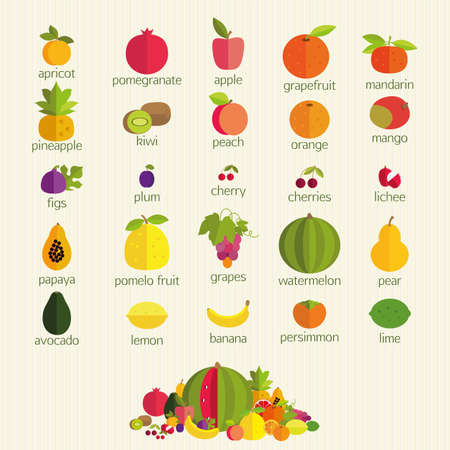 basics: Basics of healthy nutrition. The most common fruits with names.