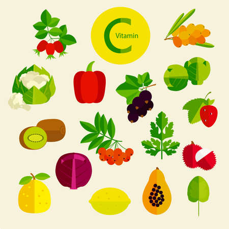 The leaders among the products on the content of vitamin C. Basics of healthy nutrition. 向量圖像