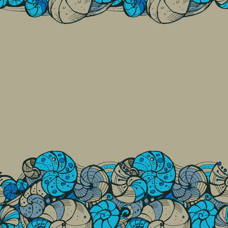 ringlet: Template for greeting cards, invitations, posters, brochures or banners. Hand-drawing Seamless pattern of seashells.
