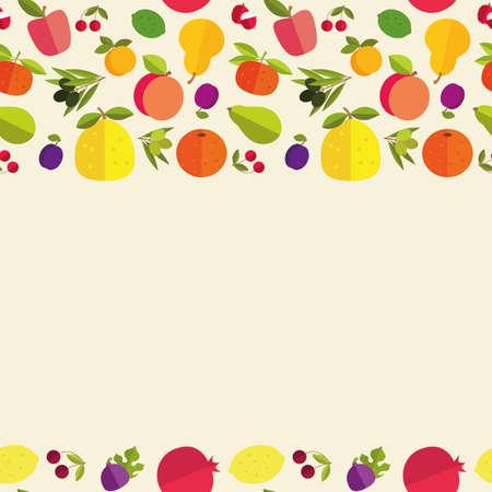"""labranza: Frontera incons�til de frutas coloridas """"Jard�n de la fruta"""". Plantilla para la tarjeta, la invitaci�n, la cubierta y otro dise�o."""