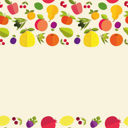 citrus maxima: Seamless border of colorful fruits Fruit garden. Template for your card, invitation, cover and other design. Illustration
