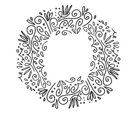 black swirls: Decorative contour frame, hand drawing.White outline on black background. Swirls and curls.