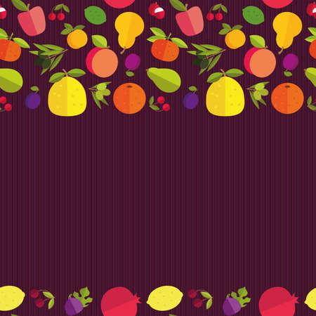 """tillage: Frontera inconsútil de frutas coloridas """"Jardín de la fruta"""". Plantilla para la tarjeta, la invitación, la cubierta y otro diseño. Colored placer sobre un fondo oscuro."""