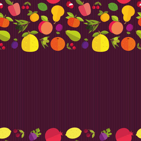tillage: Seamless border of colorful fruits Fruit garden. Template for your card, invitation, cover and other design. Colored placer on a dark background.