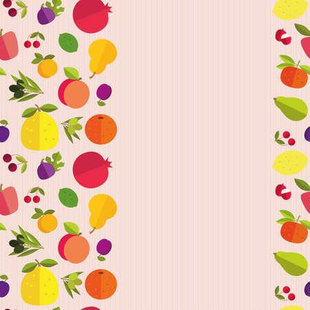 """labranza: Frontera incons�til de frutas coloridas """"Jard�n de la fruta"""". Plantilla para la tarjeta, la invitaci�n, la cubierta y otro dise�o. Frutas de colores sobre un fondo claro de la textura."""