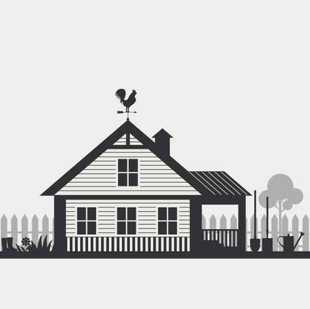 mansard: Country life. House with fence and Garden accessorie. Illustration