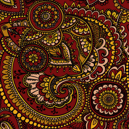 brownish: Seamless pattern based on traditional Asian elements Paisley. Brownish - yellow.