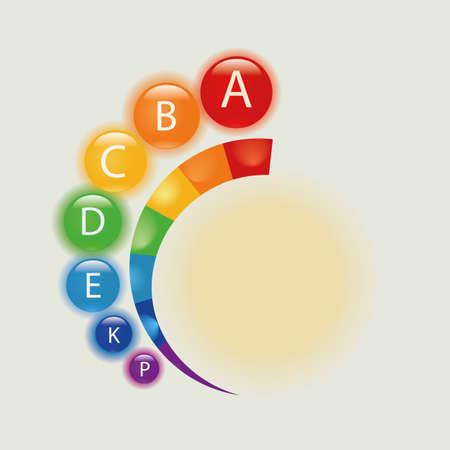 Vitamin alphabet. Rainbow vitamins in alphabetical order.