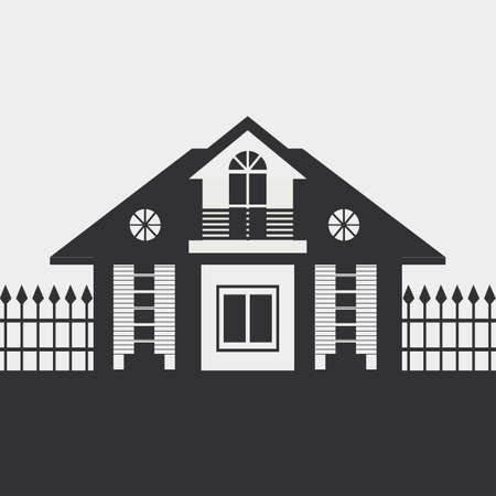 lowrise: Silhouette drawing of the cottage with a fence. Dark figure on a light background. Illustration