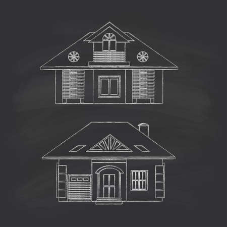 upper floor: Silhouette drawing of country houses, cottages. Chalk on a blackboard. Illustration