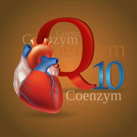 substances: Schematic representation of Coenzyme Q10 - antioxidant substances necessary for the maintenance of normal heart function. Golden background.