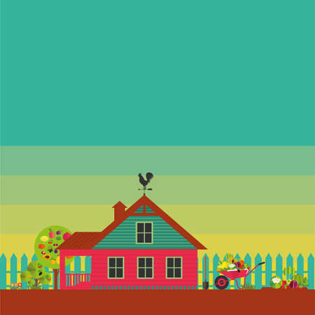 Country life. House with fence and Garden accessorie. Stylized color images. Ilustração