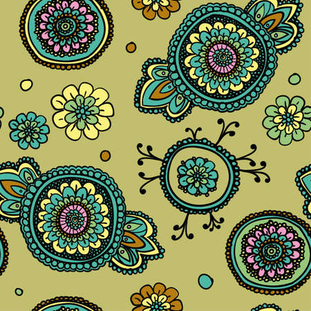 pastel shades: Seamless vintage pattern with floral motifs. Based on a traditional oriental textiles. Pastel shades.
