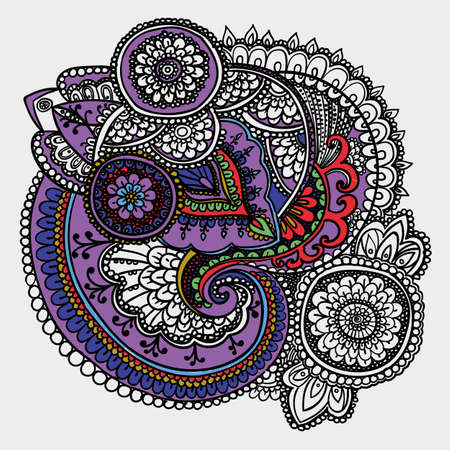 partially: Vintage pattern based on traditional Asian elements Paisley. Partially painted outline drawing. Purple and blue .