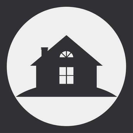 silhouette maison: L'image stylisée d'une maison de campagne. Silhouette sombre sur un fond clair.