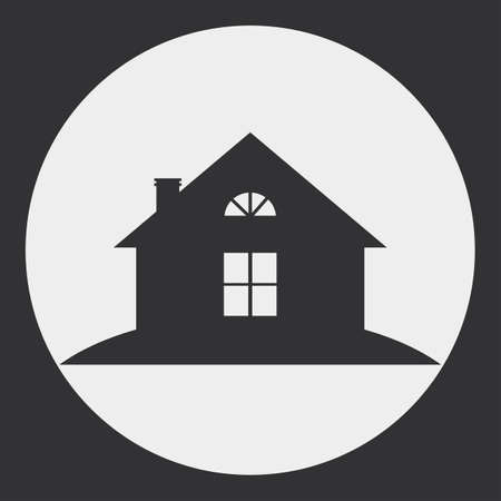 lowrise: The stylized image of a country house. Dark silhouette against a light background.