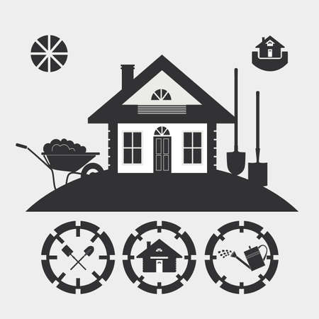 lowrise: The stylized image of a country house with garden accessories. Dark silhouette against a light background. Illustration