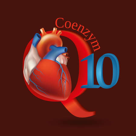 surround system: Schematic representation of Coenzyme Q10 - antioxidant substances necessary for the maintenance of normal heart function. Dark red background. Illustration
