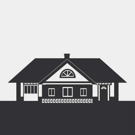 mansard: Silhouette drawing of a large cottage with a loft. Dark figure on a light background.