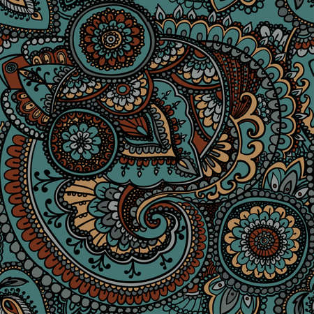 restrained: Seamless pattern based on traditional Asian elements Paisley. Restrained soft colors . Illustration