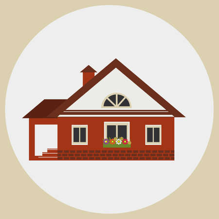 dacha: Vacation home. The image on a light background.