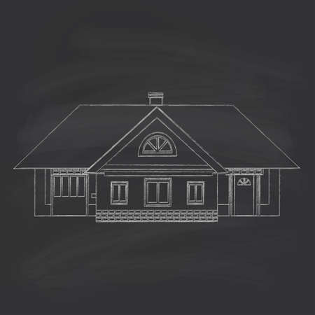 mansard: Silhouette drawing of a country house. Chalk on a blackboard.