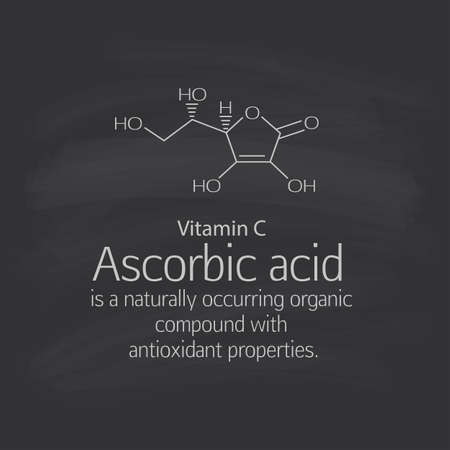 antioxidant: Formula and a brief description of ascorbic acid (vitamin C). Ascorbic acid is a naturally occurring organic compound with antioxidant properties. Scheme and text. Basics of healthy nutrition. Dark background - the students board.