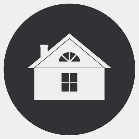 L'immagine stilizzata di una casa di campagna. Silhouette luminosa su uno sfondo scuro. Archivio Fotografico - 46457647