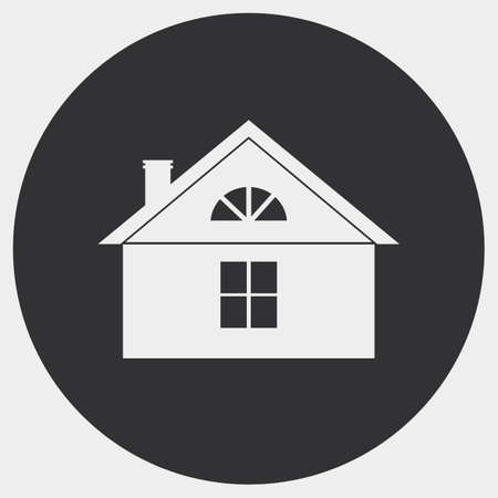 mansard: The stylized image of a country house. Bright silhouette on a dark background. Illustration