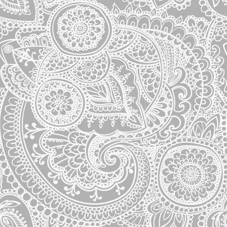 textil: Patrón transparente basado en elementos tradicionales asiáticos Paisley. Negro - versión en blanco.