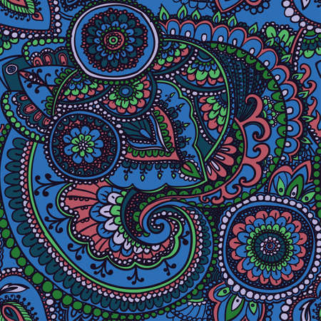 traditional pattern: Seamless pattern based on traditional Asian elements Paisley. Blue and pink.